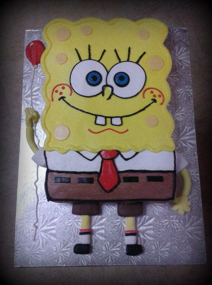 Spongebob Cupcake Cake - 24 cupcakes...arms & legs are fondant. Spongebob is a perfect shape for a cupcake cake.