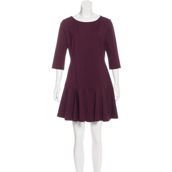 Pre-owned Halston Flounced Mini Dress ($95) ❤ liked on Polyvore featuring dresses, burgundy, 3/4 sleeve dresses, burgundy dress, ruffle hem dress, flounce dress and purple mini dress