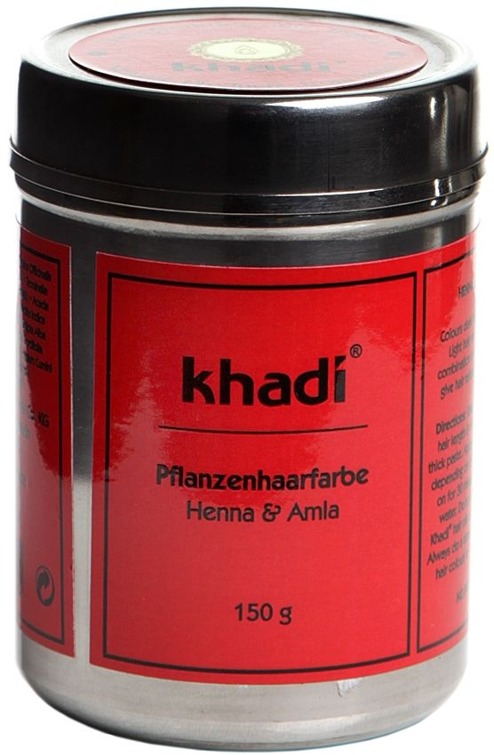 [Article/Buy] Khadi Herbal Hair Colour Henna and Amla: a combination of natural herbs and henna to give your hair volume, shine and strength. Colour your hair giving light hair a red to orange colour and dark hair mahogany to red-brown. BDIH Certified. Vegan.