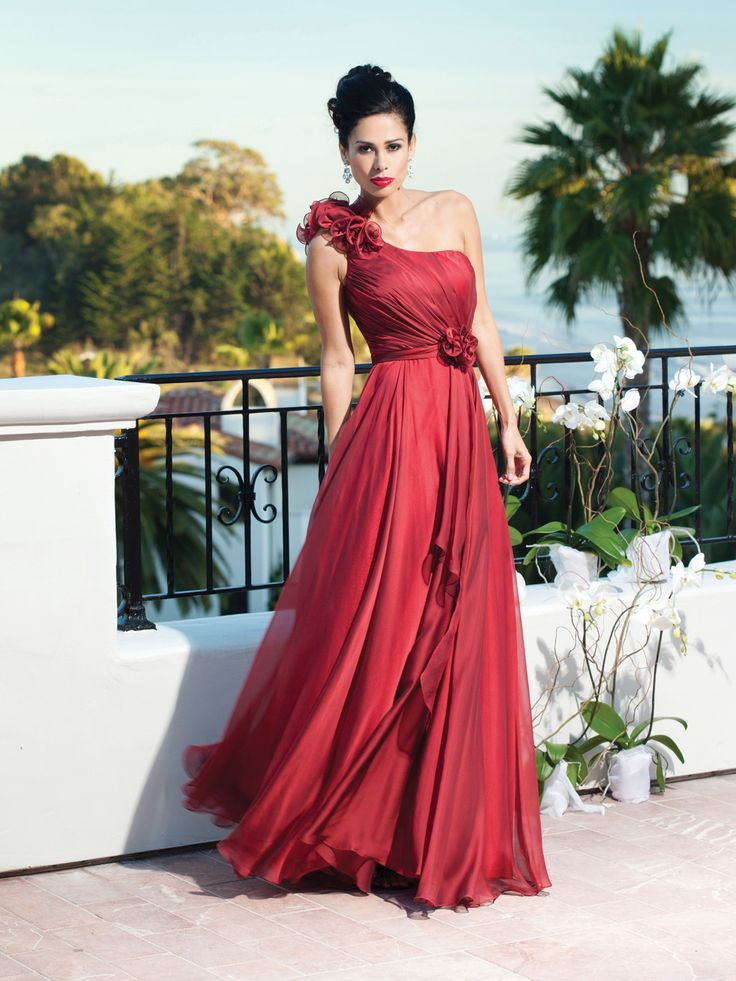 A-line chiffon bridesmaid gown with one shoulder in ablve the knee length,$108.00