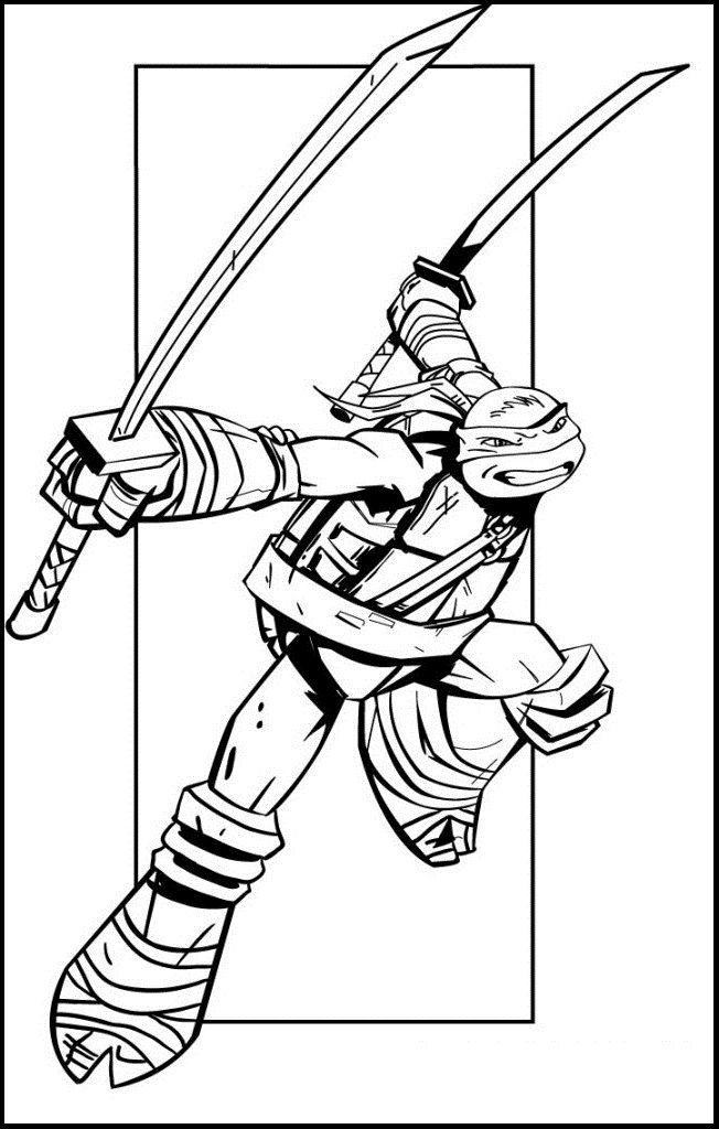 leonardo teenage mutant ninja turtles coloring picture for kids