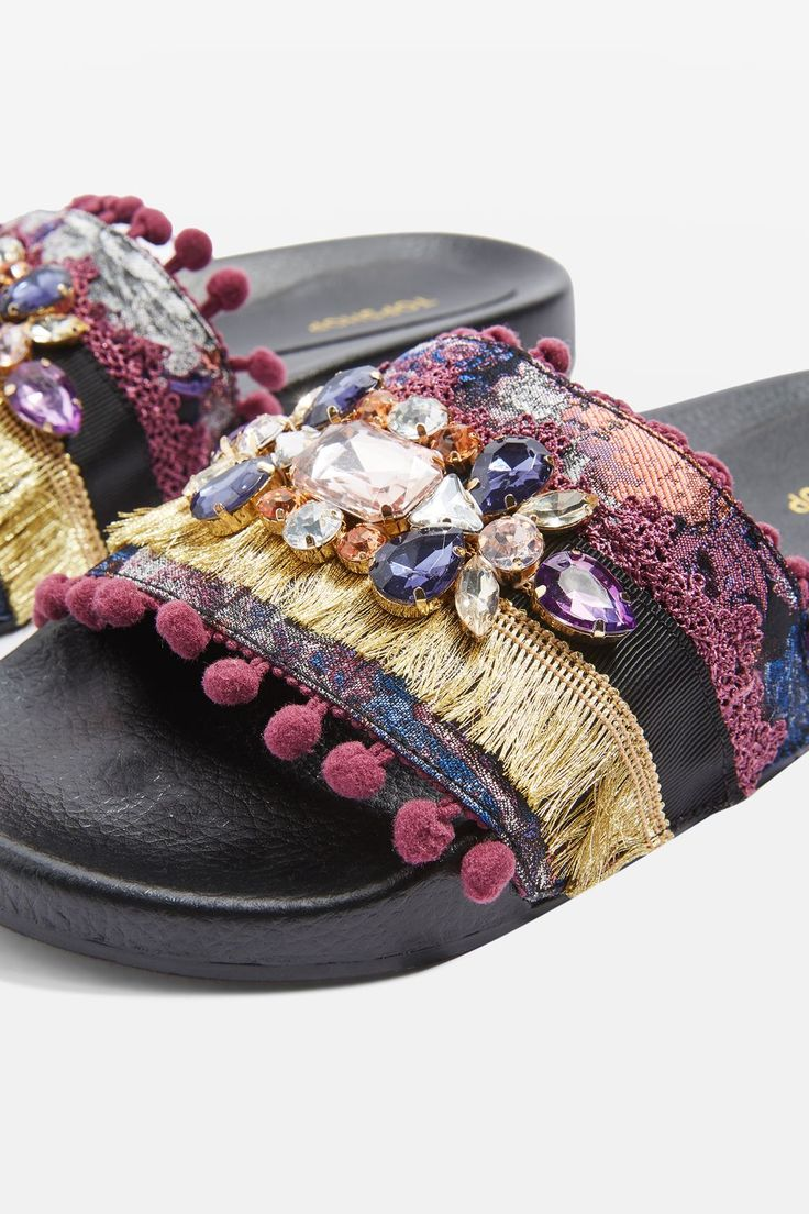 Ready for festival season? These sliders with tassels, pom poms and embellishments are our go-to shoe to dance the night (and day!) away.