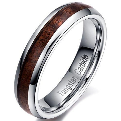 Mens Womens 5mm Tungsten Carbide Thin Wedding Ring Acacia Wood Inlay Engagement Promise Band Domed Design Comfort Fit