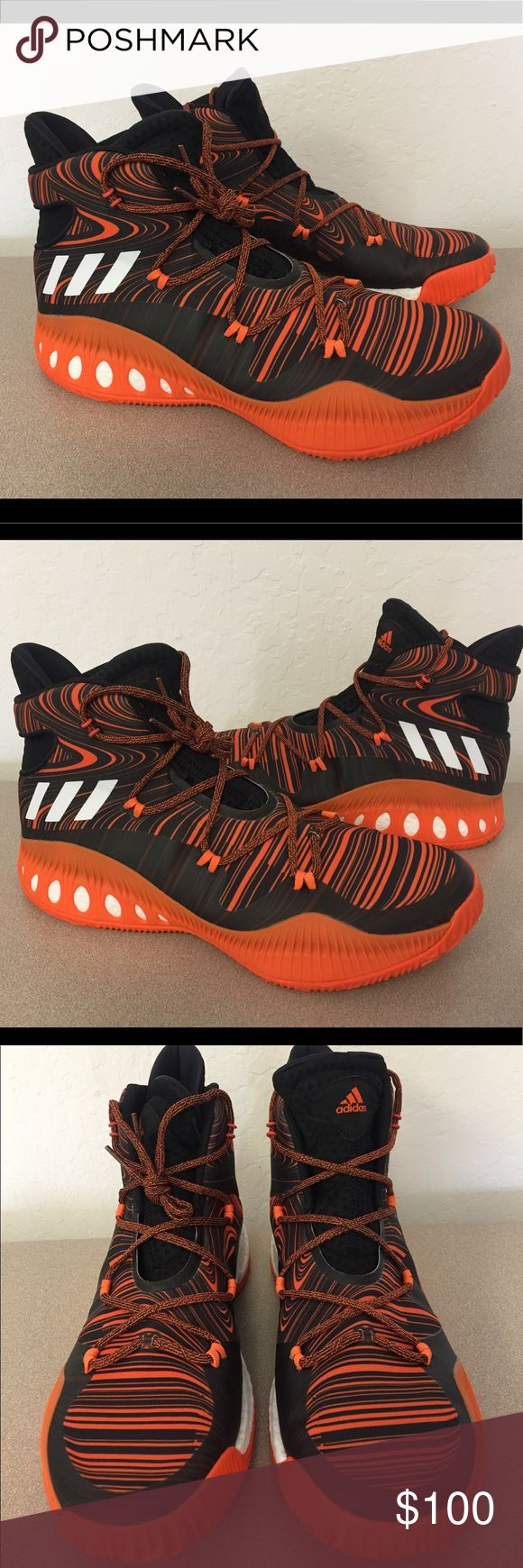 Adidas Crazy Explosive Men's Basketball Shoes Brand : adidas  Style Code : B38865  Color : Orange/Black  Size : US Men's 13.5  These basketball shoes are built for his thrilling style of play. Lightweight and quick in transition, the textile and synthetic upper features graphics inspired by the superstar himself. Full-length boost helps harness all of your raw energy on court, while the outsole delivers high traction for sharp cuts to the hoop.   BRAND NEW. NO BOX. NEVER WORN.   100%…