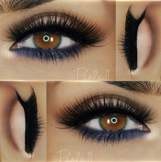 Brown cut crease with navy blue lash line