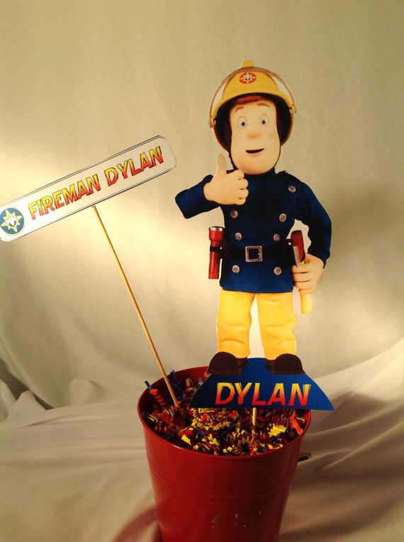 PRINTABLE DIY Fireman Sam Party Centerpiece, front and back included. Personalized with your name, by PartiesByTristan, $5.00