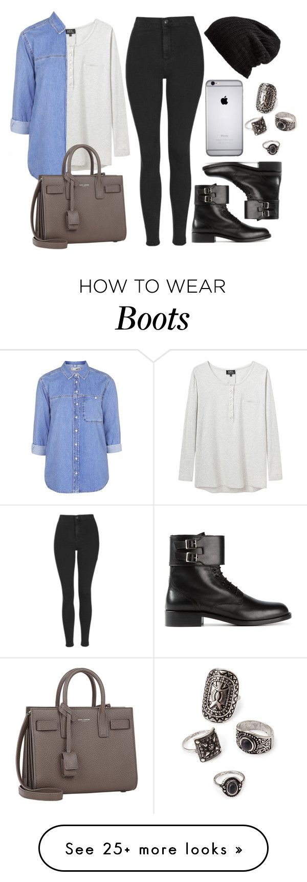 """Style #9798"" by vany-alvarado on Polyvore featuring A.P.C., Topshop, Yves Saint Laurent, Free People, Forever 21, women's clothing, women, female, woman and misses"