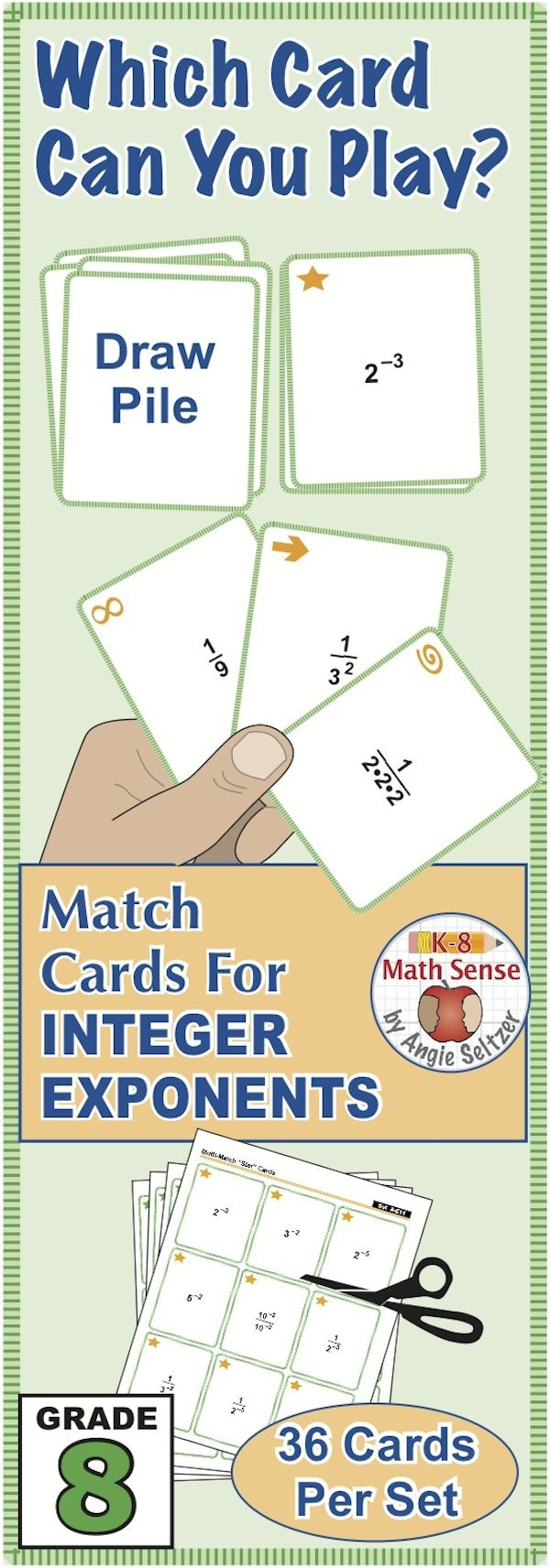 This FREE set of printable Multi-Match game cards helps students simplify expressions with negative integer exponents. Just print on five sheets of paper and have students cut the cards. Choose from four fun, familiar games for 1-4 players. Also see the bundle of Grade 8 games. ~by Angie Seltzer