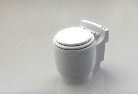 DryFlush toilet: No water, no chemicals, no smells, bags waste and seals it off until you refill the cartridge. Company is currently working on a biodegradable/compostable cartridge. $420. Good for RVs or non-connected systems.