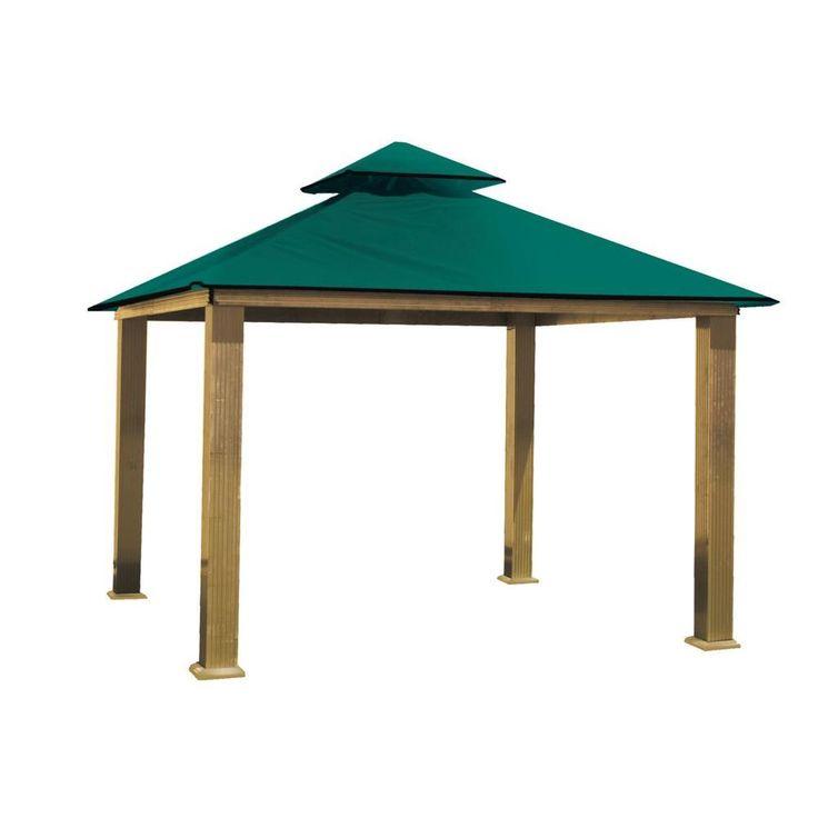 null 14 ft. x 14 ft. ACACIA Aluminum Gazebo with Green Canopy