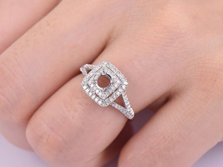 Diamond Engagement Semi Mount Ring 14K White Gold Round 5mm, Cushion Halo