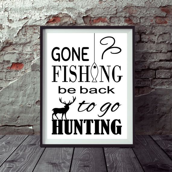 Hunting And Fishing Print Wall Art Print by WildYardDesignStudio