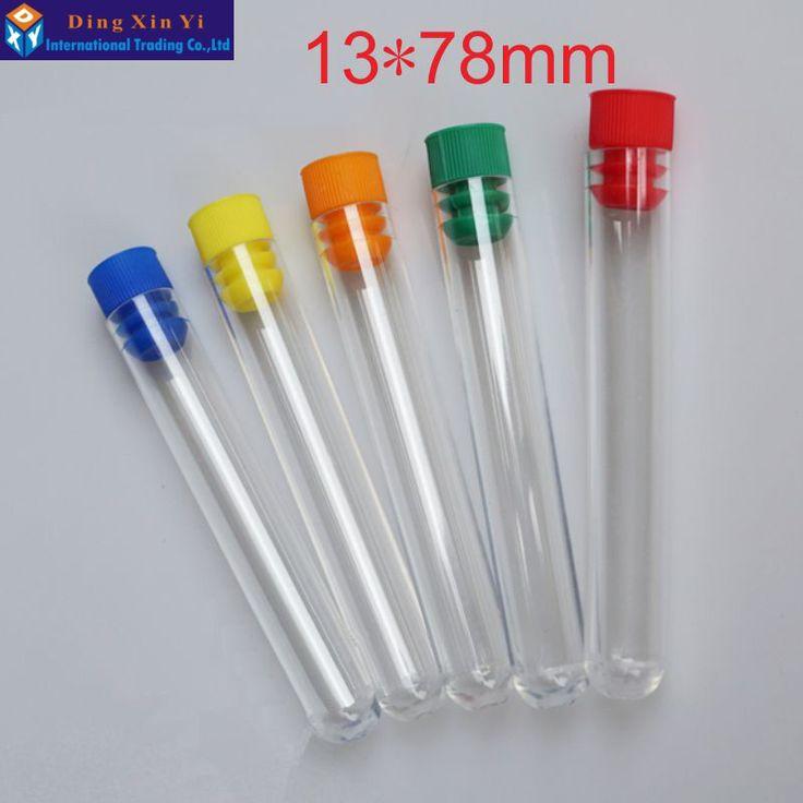 50 teile/los 13*78mm hartplastik rohr polystyrol reagenzglas Hohe transparenz kunststoff reagenzglas mit Stopfen Die farbe kann wählen
