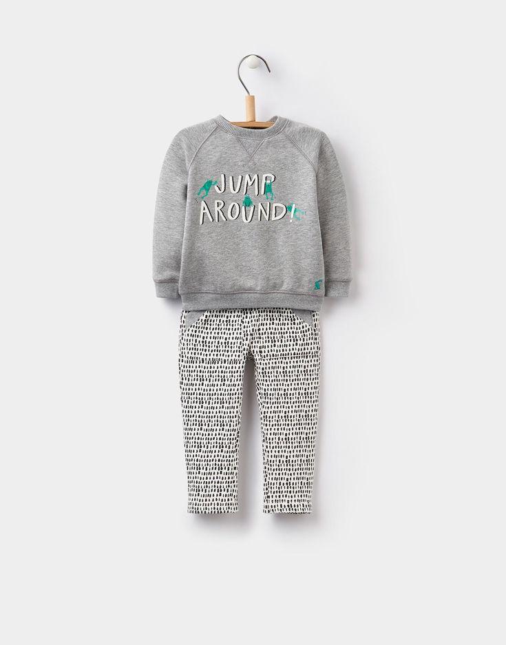 Chris Grey Marl Sweatshirt and Bottoms Set | Joules UK