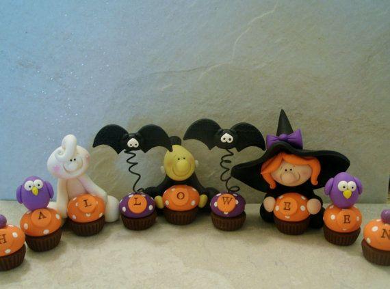 Halloween 9 Piece Set - Witch - Ghost - Frankenstein - Owls - Bats - Cupcakes - Figurines