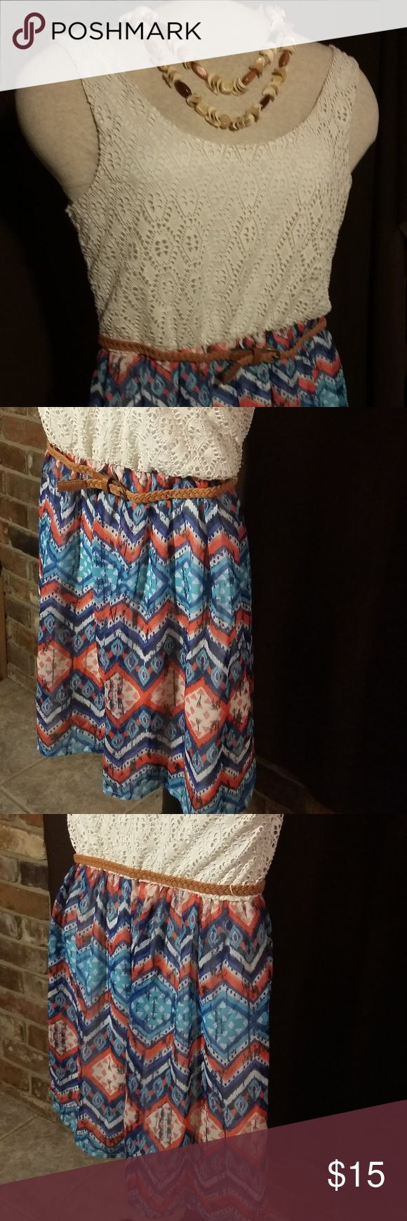 Red camel cream and multi-colored dress Sleeveless dress with lined, lace bodice, thin brown belt, and lined, patterned skirt.  Like brand new condition. Red Camel Dresses Midi