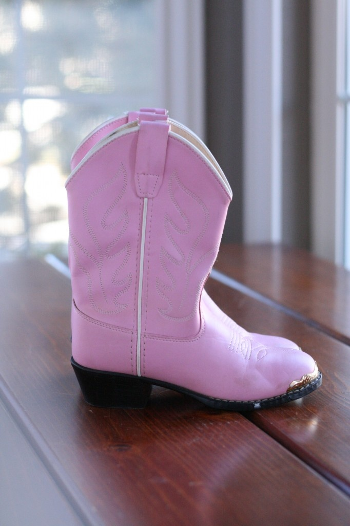 Pink Cowgirl boots from Goodwill