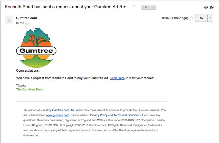received spoofed gumtree email