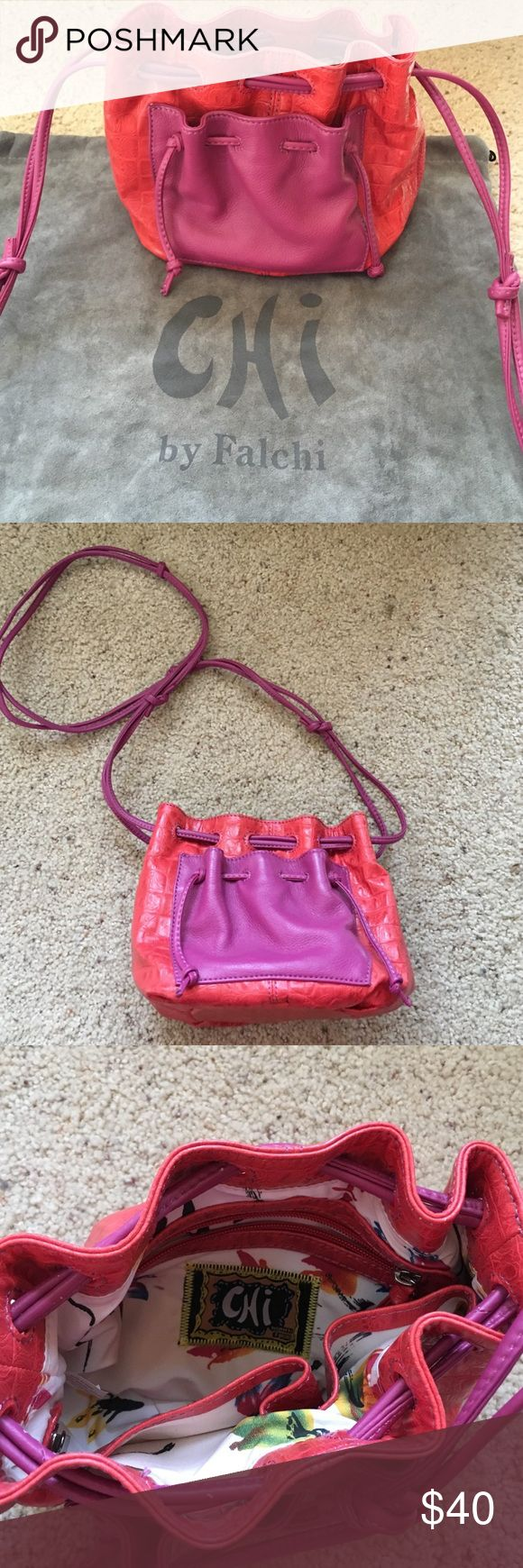 Chi By Falchi Purse! Authentic Chi by Falchi pink/red Leather Purse! Small compact size with many zippers for all your things! Excellent Condition, only used a couple times! Gray Suede purse bag included! Chi by Falchi Bags Crossbody Bags