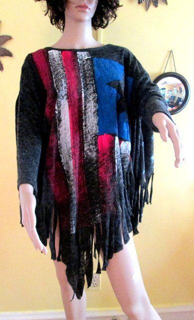 Fringe Sweater.  Fringe Top. Gray Fringe Long by MISSVINTAGE5000