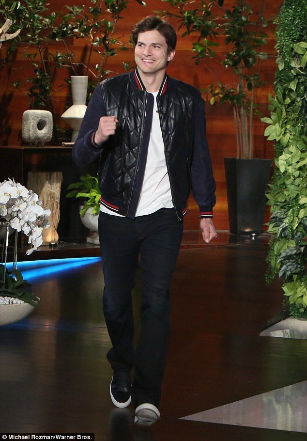 Sharing: Ashton Kutcher taped an interview with Ellen DeGeneres to air Monday in which he spoke about how his wife Mila Kunis chose the name for their second child, son Dimitri