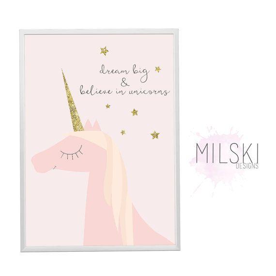 Delilah rêveuse / / grands rêves et croire en licornes print / / pastel / / wall art / / pépinière / / baby girl / / or scintillant / / intérieur décor
