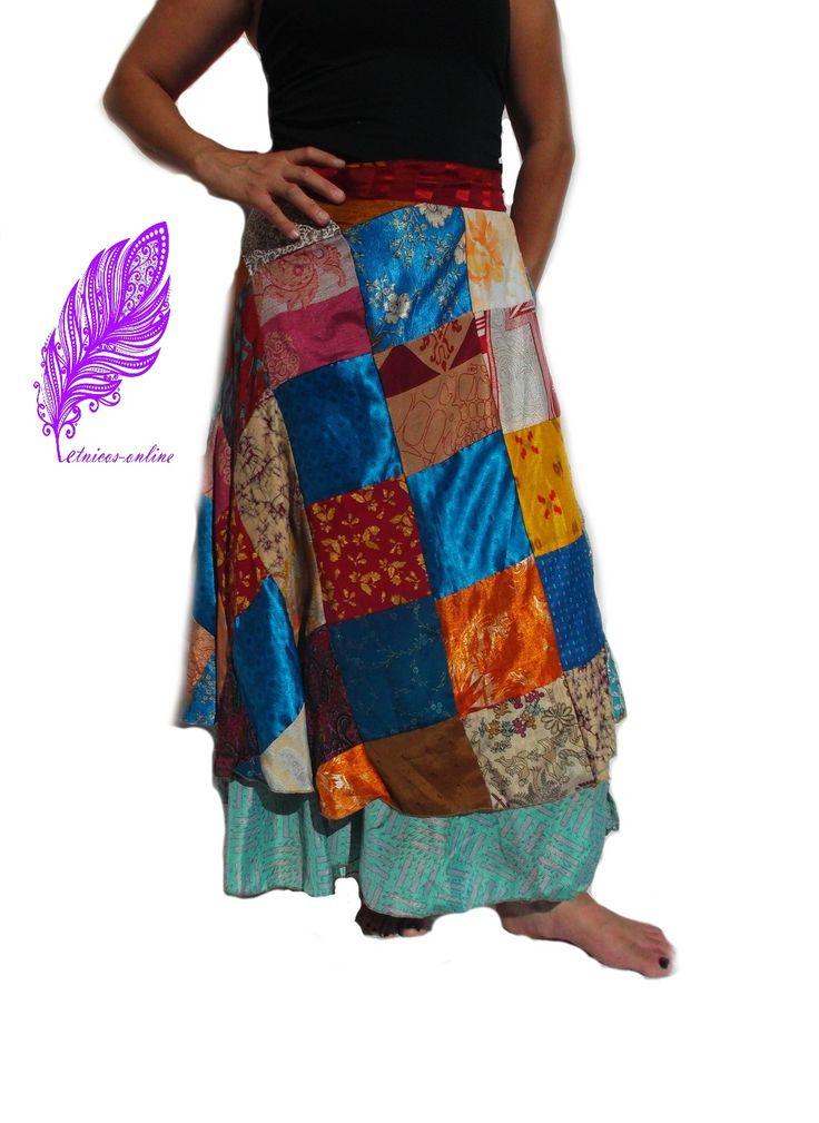 Falda mágica reversible estilo alternativo étnico en tela patchwork. Seda con poliéster. hecha en India.
