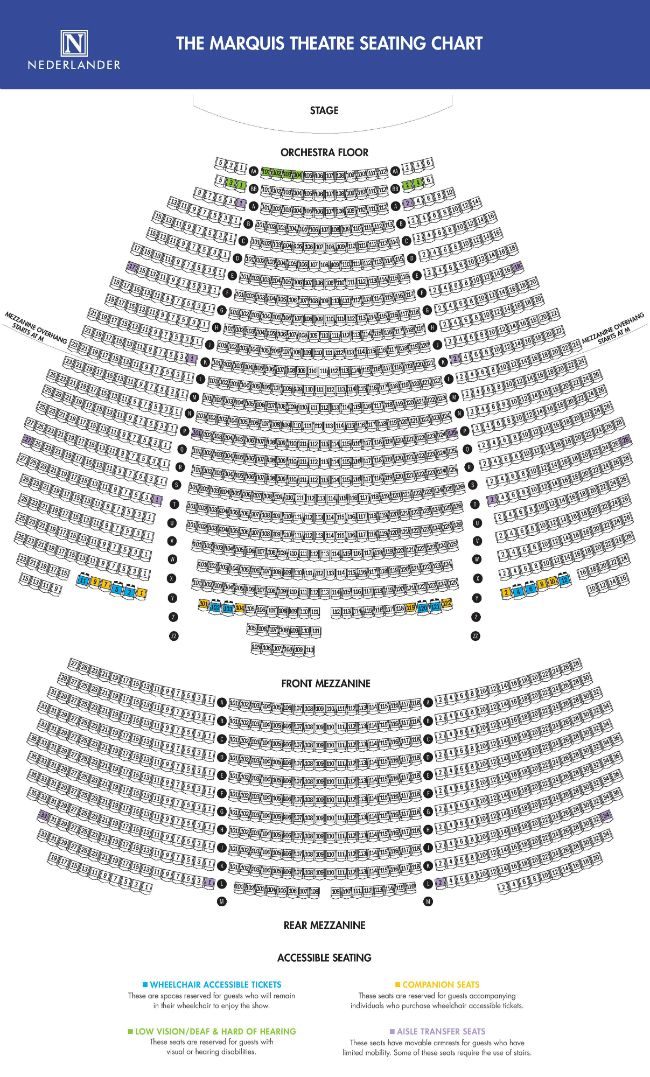 Marquis Theatre Seating Map Nyc Broadway Pinterest