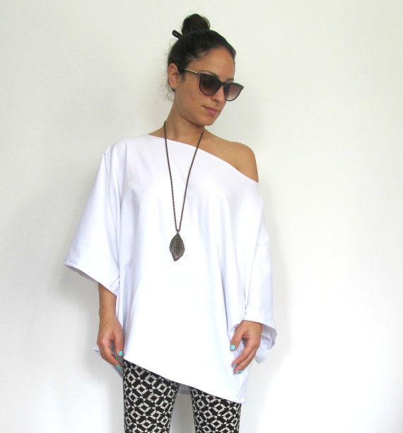 White Maternity Shirt Oversize maternity shirt Long by OnorFashion