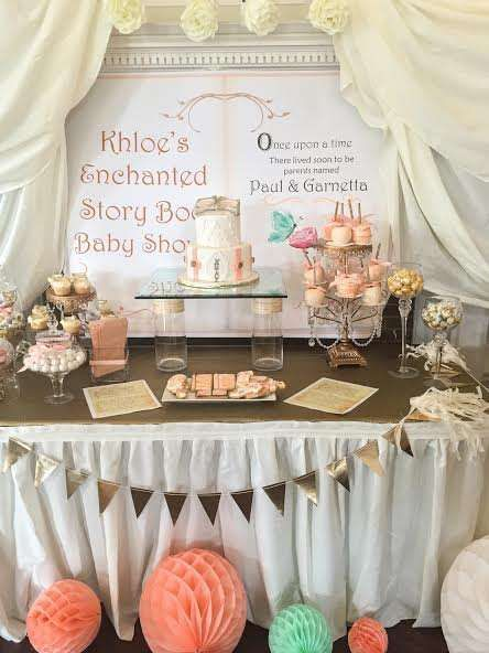 Story book baby shower party dessert table! See more party ideas at CatchMyParty.com!