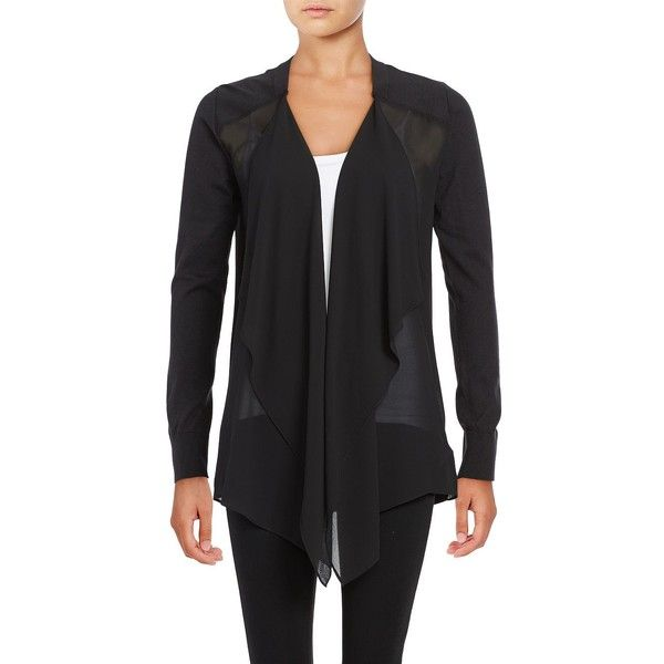 Michael Michael Kors Women's Mixed-Media Flyaway Cardigan ($29) ❤ liked on Polyvore featuring tops, cardigans, black, layering long sleeve tops, open front tops, layered tops, long sleeve tops and petite long sleeve tops