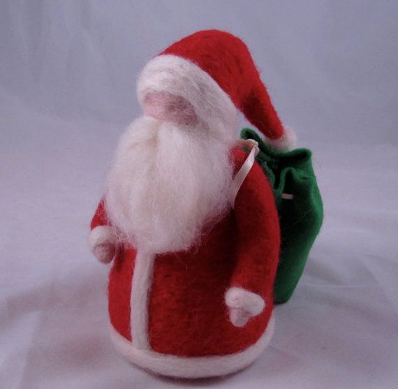 Needle Felted Santa Claus with Bag by chimera on Etsy, $32.00