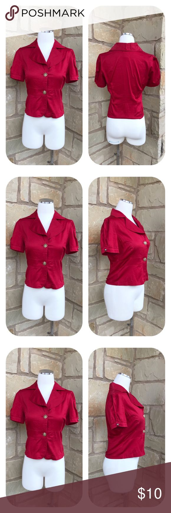 """CatWalk Red Short Puff Sleeves Peplum Top Size M Catwalk Red Short Sleeve Red Peplum Top Size M  -  Button-Down -  Short Puff Sleeves -  96% Cotton 4% Spandex  -  Size M     Armpit to armpit 18""""     Armpit to end of sleeve 2""""     Shoulder to hem 20""""  Thanks for visiting! ❤️ Catwalk Tops Button Down Shirts"""