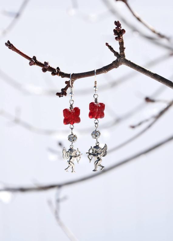 Amor Ohrringe Valentinstag Geschenk romantischen Schmuck, roter Schmetterling Kristall Silber Amor Ohrringe, lange baumelnde Amor Ohrringe   – Products