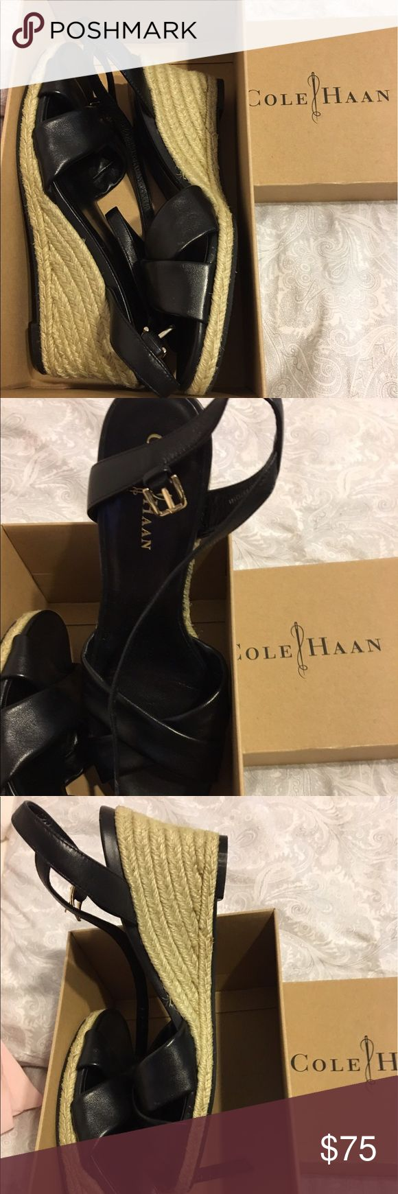BRAND NEW Cole Haan Black Wedge Sandal size 8 BRAND NEW! NEVER worn Cole Haan Wedge Sandal in size 8. Leather w rope. Bought in Neimans a few yrs ago. Smoke-free house!! Cole Haan Shoes Wedges