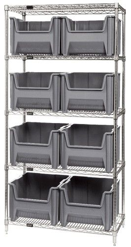 Large Stack Container Wire Shelving Unit - WR5-800 - 18 x 36 x 74 | Bin-Store.com