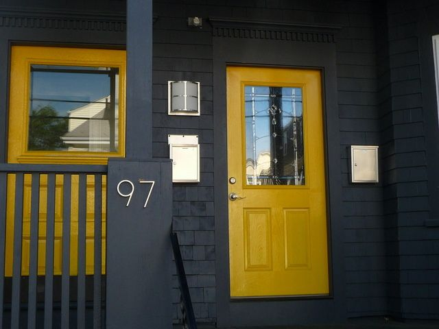 Yello door today - Gray house yellow door ...