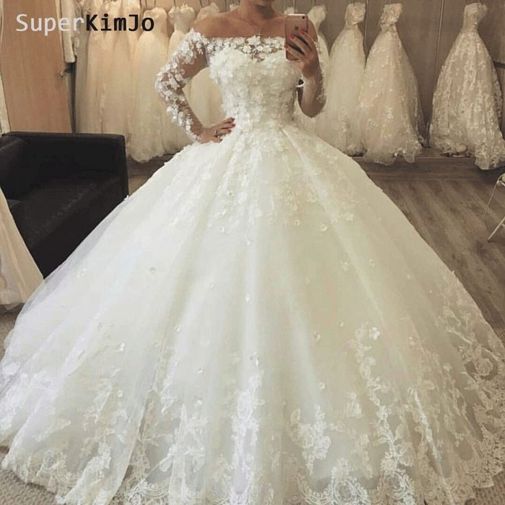 SuperKimJo Long Sleeve 3D Flowers Boho Wedding Dresses Bridal Gown 2019 Robe De Mariee Lace Applique Bridal Dresses for Women