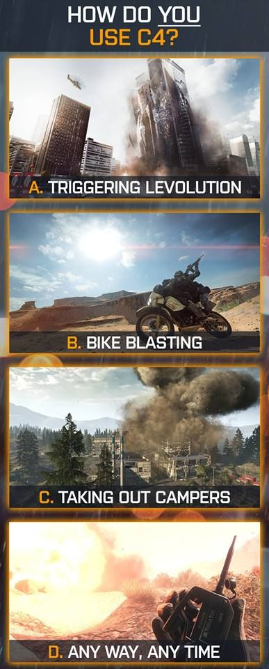 How do you use C4 in battlefield?  Only in battlefield