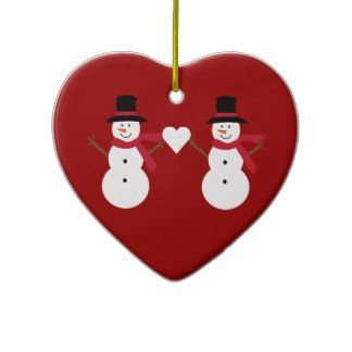 Cute Snowmen & Heart Red Heart Shaped Ornament