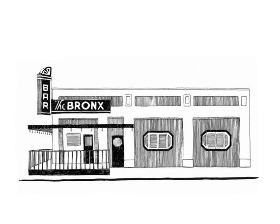 This is an 8x10 giclee print of an original pen and ink drawing by Emily Linn featuring The Bronx Bar in Detroit, MI. It is meticulously printed on a