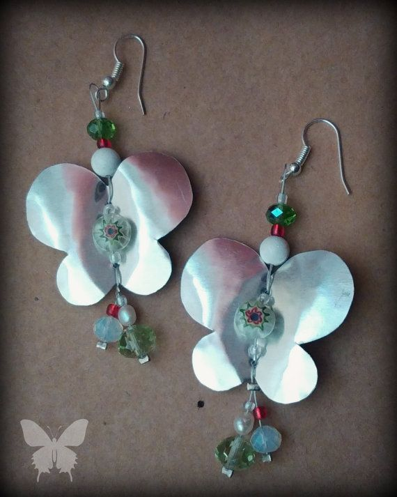Handmade Aluminium Butterfly Earrings Free Shipping by CatArtistic