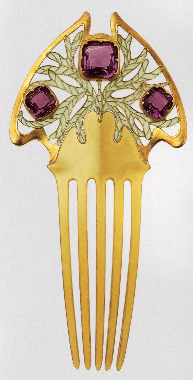Art Nouveau hair comb. Maison Vever.