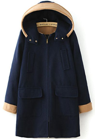 Navy Hooded Long Sleeve Pockets Woolen Coat - abaday.com