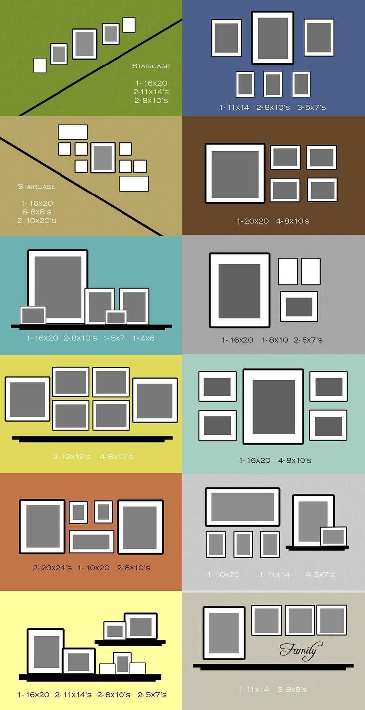 Схемы размещения фотографий на стене