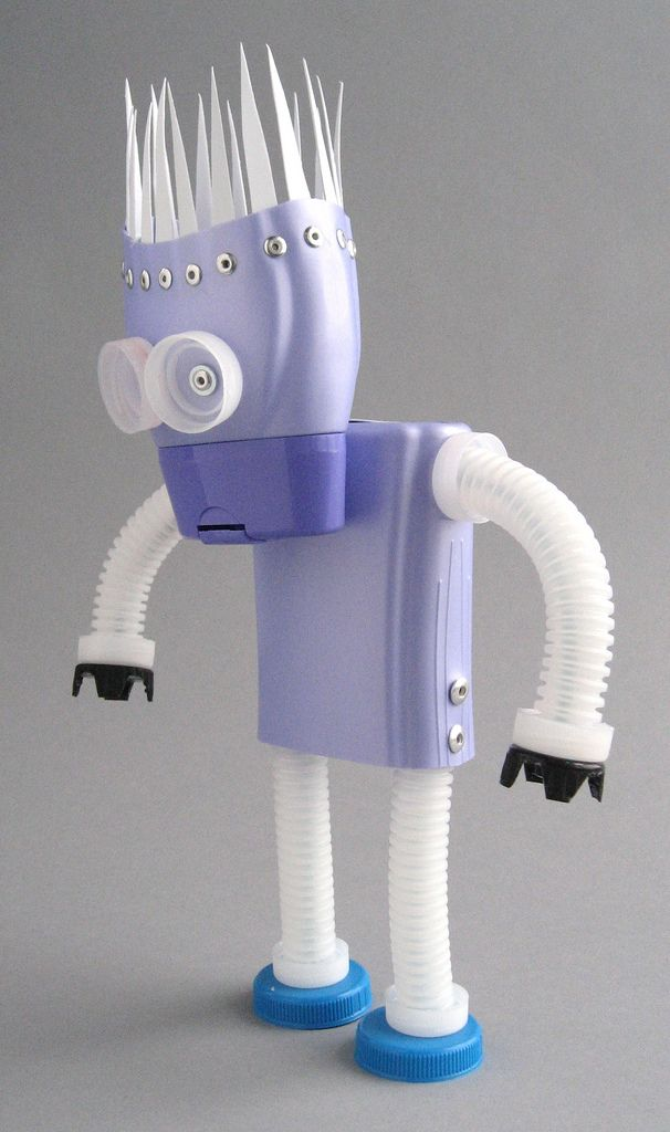 plastibot #1 - found object plastic assemblage robot by Brian Marshall 2 | by adopt-a-bot