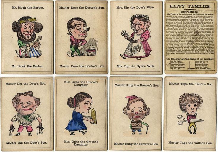 Cards from an 1880s edition of Happy Families published by John Jaques & Son, 102 Hatton Garden, London, which included 11 families of four members each. Stencil-coloured lithography. Jaques' Happy Families was originally published in 1851 and shown at the Great Exhibition of that year.