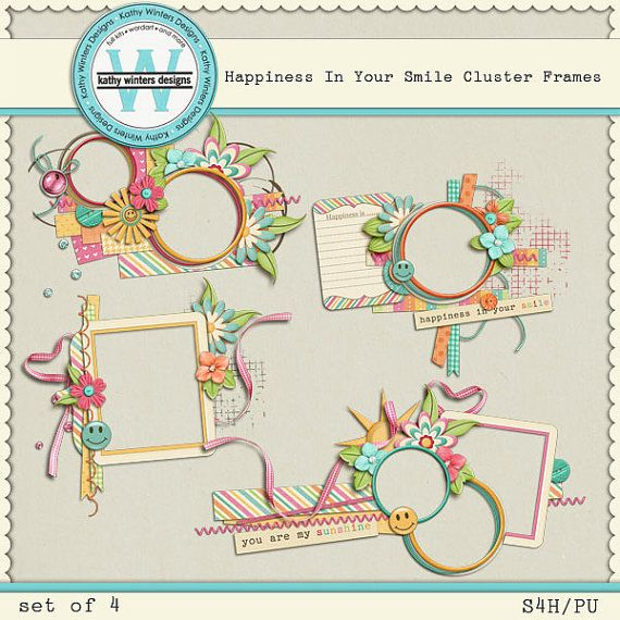 Happiness In Your Smile Cluster Frames Digital by KWintersDesigns