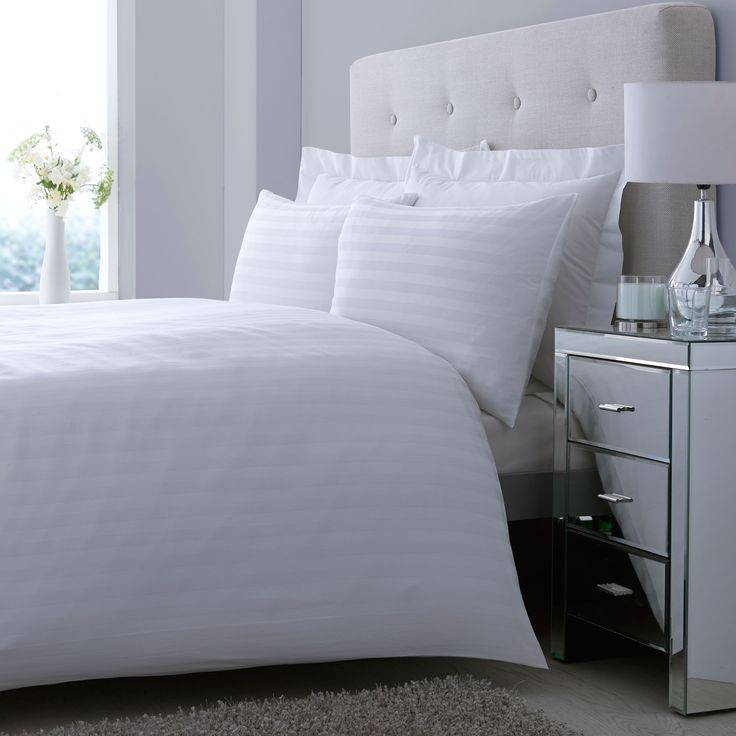 Satin Striped White Double Bed Cover Set | Departments | DIY at B&Q
