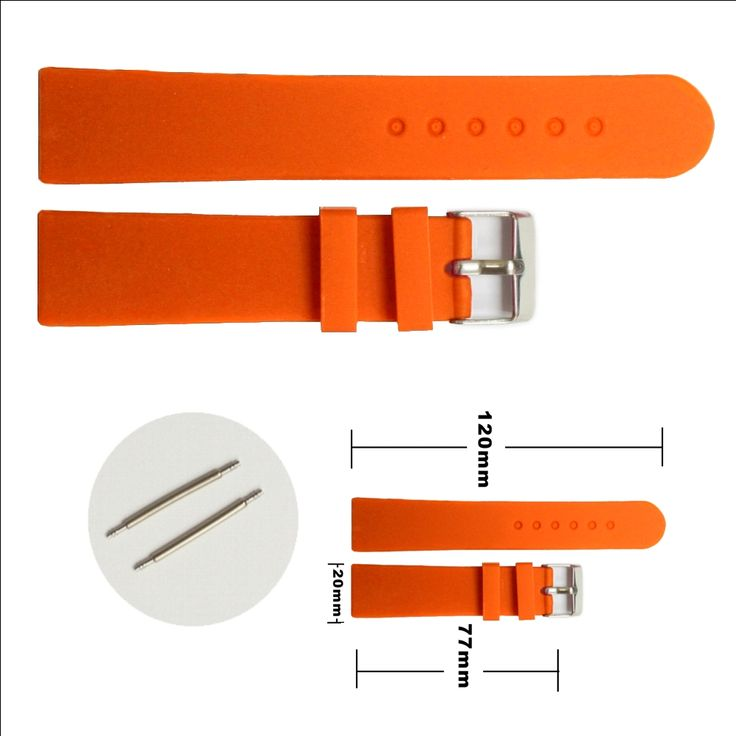 Gelatina del silicone 20 millimetri di zucca arancione in gomma Uomini Lady Watch Band cinghie WB1077Y20JB